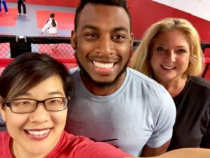 Selfie of Robert with #TeamX3 marketing Tammi & Nancy