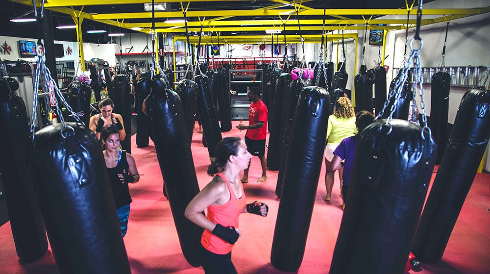 Nate as instructor to a Kicbboxing class at X3 Sports West Midtown