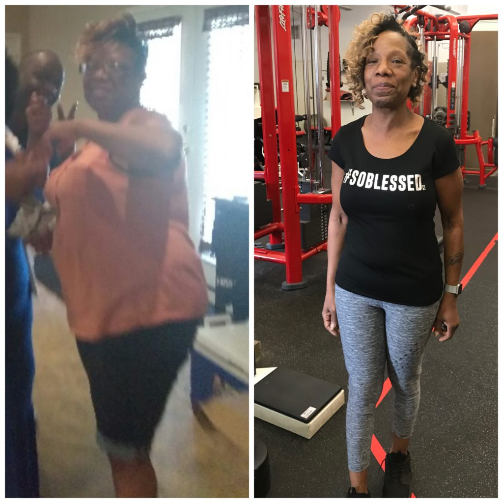 Before and after photos of Carolyn Wright, losing 60 pounds in 5 months.