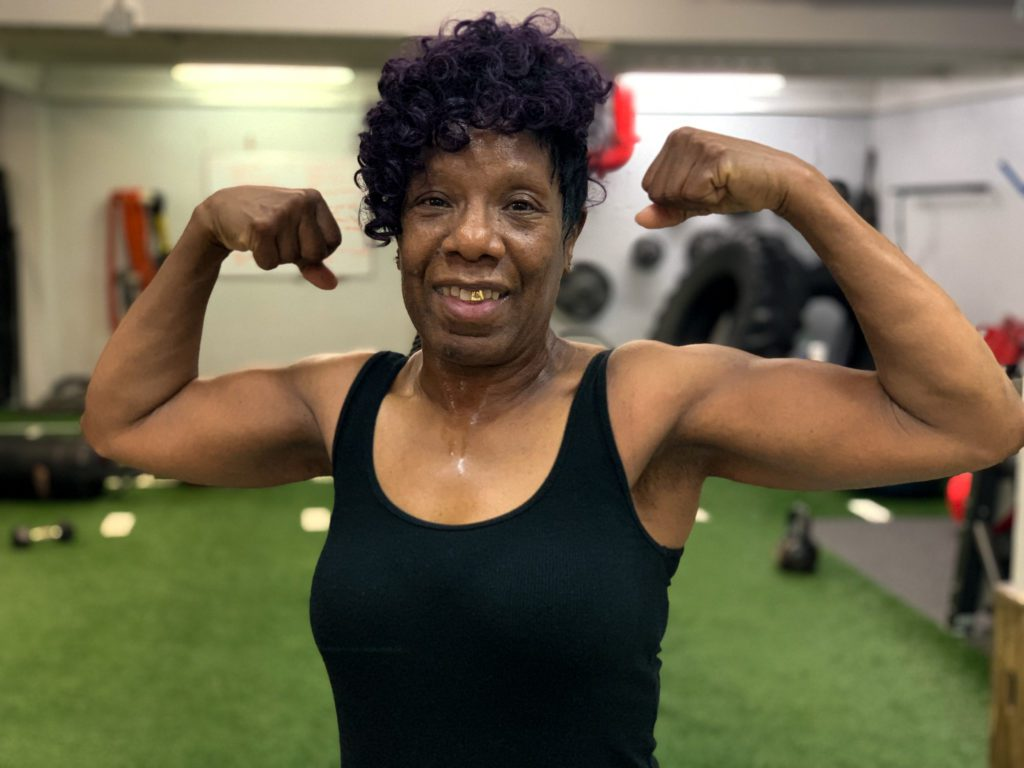 Carolyn Wright after her Personal Training session at X3 Sports in Atlanta, Ga. X3 Sports helped Carolyn lose weight and tone up!
