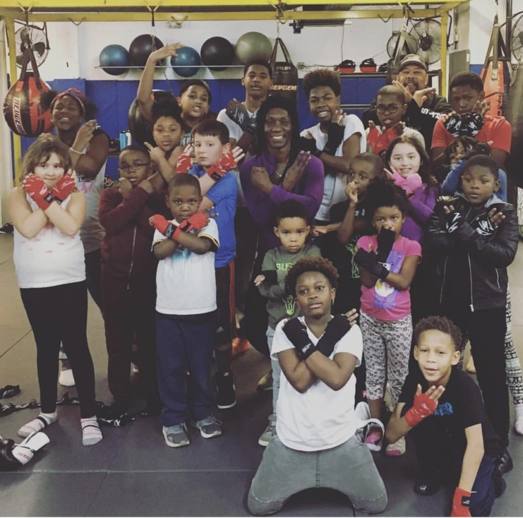 Rica Grandison and some of her students she trains for Youth Boxing.