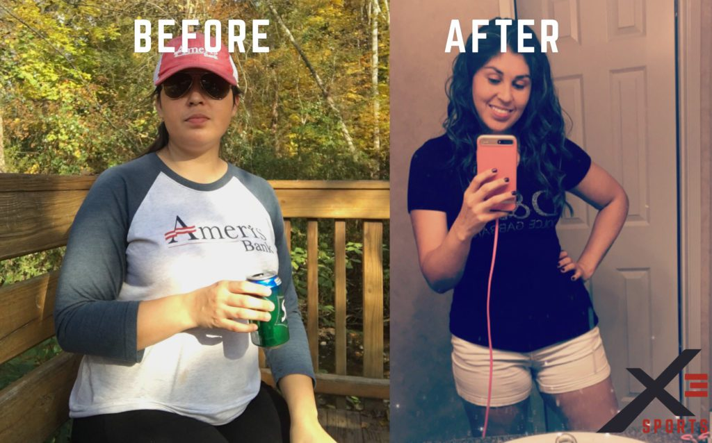 Before and after pictures of Aracely. Weight loss of 60 pounds by taking fitness classes at X3 Sports.