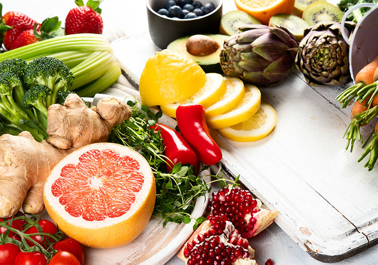Organic food background. Healthy cooking ingredients - fresh fruits and vegetables. Panorama, banner